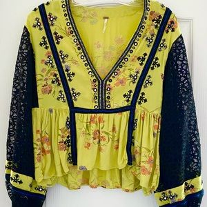 Black and yellow Free People Top